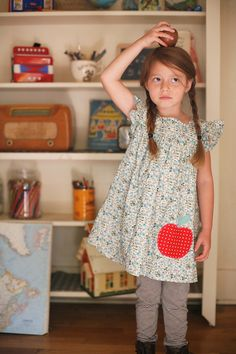 Fall Misha Lulu Apple Dress - Perfect for back to school or apple picking! Little Girl Fashion, My Little Girl, Toddler Fashion, Fashion Kids, Apple Dress, Diy Couture, Knit Leggings, Kid Styles, Sewing For Kids