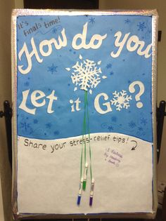 Stress Relief Music Great idea for teaching students stress-relief strategies. Stress Relief Music Great idea for teaching students stress-relief strategies. Health Bulletin Boards, Counseling Bulletin Boards, College Bulletin Boards, Interactive Bulletin Boards, Frozen Bulletin Board, Winter Bulletin Boards, Relation D Aide, Student Stress, Ra Bulletins