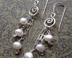 Long Pearls And Swirls Sterling Silver Dangle by nicholasandfelice, $28.00