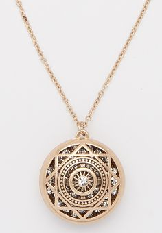 goldtone pendant necklace with shimmering rhinestone interior (original price, $16.00) available at #Maurices
