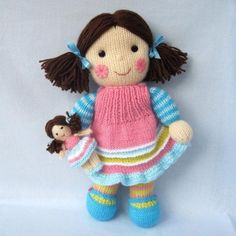 doll knitting patterns: Maisie and her dolly by Toyshelf on the LoveKnitting blog