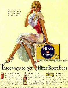 Hires Root Beer - delicious, healthful, economical! #vintage #food #drinks #ad #root_beer #1930s