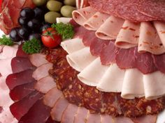 Cold Cut Platter (Turkey, Ham, Roast Beef, Salami and Pastrami. I add Pepperoni!) Add Cheese Tray including Slices with Lettuce and Tomato! Meat And Cheese Tray, Meat Trays, Meat Platter, Food Platters, Pastrami, Deli Tray, German Bakery, German Meat, Cold Cuts