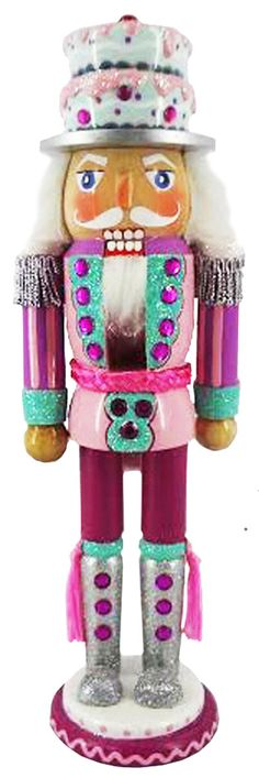N1211-A: 12 inch Nutcracker in Pink and Teal with Cake Hat