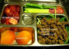 Grass-fed taco seasoned beef, nectarine, strawberries, cucumber, sugar snap peas, cherry tomatoes