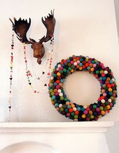 48 Inspiring Holiday Fireplace Mantel Decorating Ideas to decorate the fireplace with holiday memories. Inspiring Holiday Fireplace Mantel Decorating Ideas to get you inspired. Felt Ball Wreath, Pom Pom Wreath, Diy Wreath, Felt Garland, Wreath Crafts, Wreath Ideas, Noel Christmas, Christmas Crafts, Christmas Decorations