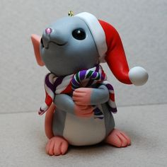 *POLYMER CLAY ~ Mouse with Candy Cane and Santa Hat Ornament by Shelly Schwartz.