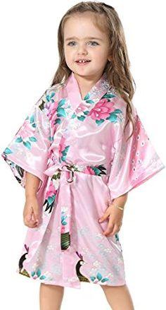 FLYCHEN Girl's Satin Kimono Robe Sleepwear for Flower Kids Wedding Dress Gown Pink 8