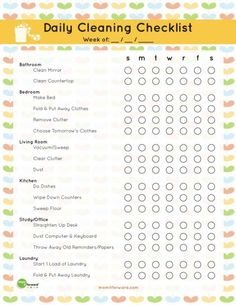Free Daily Cleaning Checklist Printable checklist printable free 20 Free Printables to Organize Everything in Your Home Cleaning Checklist Printable, House Cleaning Checklist, Cleaning Hacks, Daily Checklist, Weekly Cleaning, Spring Cleaning Schedules, Daily Cleaning Lists, Chore Checklist, Cleaning Challenge