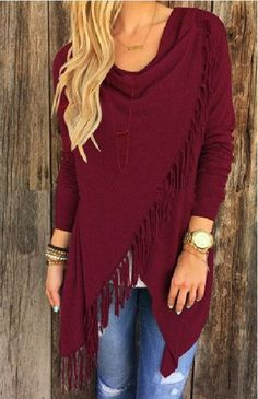 Long Sleeve Blouse Tassel Slash Sweater