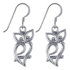 Gem Avenue 925 Sterling Silver Owl Silhouette French Hook Dangle Earrings -- More info could be found at the image url. Note: It's an affiliate link to Amazon.