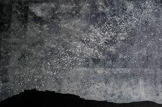 Helen Peyton monoprint - Night Over Simon Seat  The Yorkshire Artists