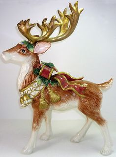 "Reindeer 17""    Fitz & Floyd -- Standing Deer figurine, Christmas Deer collection, 16 3/8""  (original price $ 205.00) Intro Date of: 01/01/1999 (retired)"