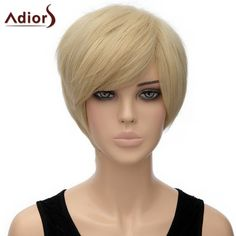 Spiffy Straight Light Blonde Short Side Bang Synthetic Adiors Wig For Women #>=#>=#>=#>=#> Click on the pin to check out discount price, color, size, shipping, etc. Save and like it!