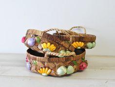 set of 60s vintage wicker straw handle baskets tray by MyraMelinda, $9.75