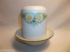 Vintage Porcelain Bisque Fairy Lamp With Handpainted Yellow Roses