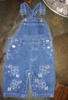 b53cb05ac Sesame Street Baby Girl Bib jeans flowers butterfy 3/6M Snap Crotch  #SesameStreet #