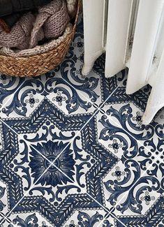 Vinyl Floor Tile Sticker - Provence in Indigo