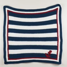 Crochet Nautical Anchor Baby Blanket with by SweetlyStitchedbyKW