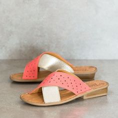 UKOMO Coral/Bark Sandals – Tsonga USA | Punched pattern into leather upper for delicate detail