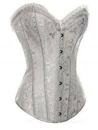 korset- h4 figuurcorrectiemiddel om onder een jurk te dragen. gemaakt van leer en verstevigd met ijzeren baleinen, werd het van voor en achteren strak aangetrokken.