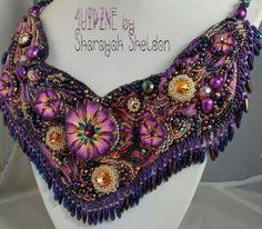 Midsummer Night Garden Shibori ribbon bead embroidered necklace by Sharayah Sheldon 4uidzne