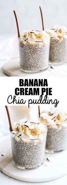 This banana cream pie chia pudding is a healthy recipe loaded wit creamy banana flavour. Vegan+ Gluten-free
