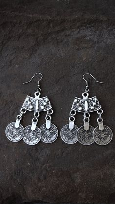 Silver Coin Earrings Coin Jewelry Coin Drop Statement Earrings Gypsy Traveler Kuchi Afghan Belly Dancer Tribal Chic Gypsy Boho Coachella  by ShopSparrow on Etsy, $14.99