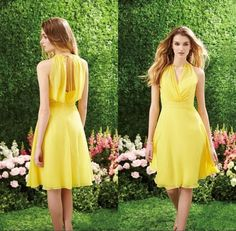 Мода желтый скромные невесты платья короткие строки экипажа комфортно ну…