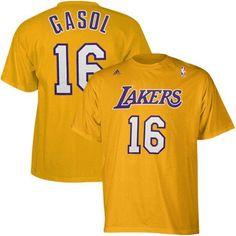 38fef174288 NBA adidas Los Angeles Lakers  16 Pau Gasol Gold Net Player T-shirt (