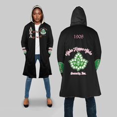 Hooded Coat Type: Sherpa: Plush polyester Sherpa lining with ultra-smooth micro-mink polyester face. Aka Sorority, Alpha Kappa Alpha Sorority, Alpha Kappa Alpha Paraphernalia, Sorority Fashion, Types Of Coats, Sherpa Lined, Dashiki, Stylish Outfits, Stylish Clothes
