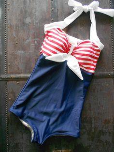 freaking adorable sailor swim suit .