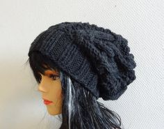 cable knit hat slouchy women / men Slouchy Beanie Cable Hat  Knit Hat Chunky Knit Winter Fall Accessories Slouchy Knitted charcoal gray