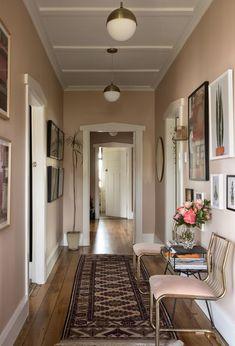 Pink hallway by michelle matangi bungalow hallway ideas, pink hallway, bungalow interiors, wall Hallway Wall Colors, Pink Hallway, Hallway Paint, Hallway Walls, Hallway Flooring, Small Entryways, Small Hallways, Bungalow Hallway Ideas, Narrow Hallway Decorating