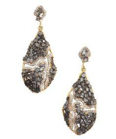 style #352825101 black diamond and white diamonds teardrop earrings