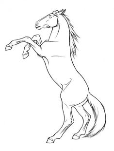rearing horse coloring pages printable and coloring book to print for free. Find more coloring pages online for kids and adults of rearing horse coloring pages to print. Horse Outline, Animal Outline, Outline Art, Horse Drawings, Art Drawings Sketches, Animal Drawings, Painted Horses, Horse Template, Avengers Coloring Pages