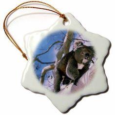 3dRose Australia, Kangaroo Isl, Koala bear, eucalypytus tree-AU01 PSK0146 - Peter Skinner, Snowflake Ornament, Porcelain, 3-inch