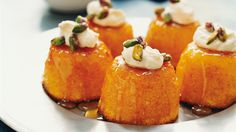 Mandarin and almond cakes. These little cakes can be made a day in advance and dipped in syrup on the day. #cake