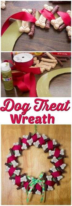This adorable dog treat wreath is a perfect holiday decoration - and a great present for your favorite doggie