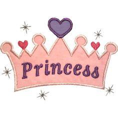 Princesa corona apliques máquina bordado Digital diseño Reina