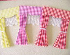 Items similar to Barbie doll house gingham curtains drapes with scalloped pelmet. - Items similar to Barbie doll house gingham curtains drapes with scalloped pelmet nets and tie backs - Mini Doll House, Barbie Doll House, Barbie Barbie, Fabric Doll Pattern, Fabric Dolls, Scrap Fabric, Paper Dolls, Fox Fabric, Doll Patterns