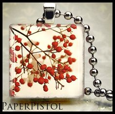 Christmas Jewelry Holly Scrabble Tile Pendant by PaperPistol, $6.95