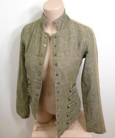 WOMEN-DA-NANG-TWEED-LACE-UP-JACKET-SIZE-XS-S-GREEN