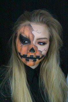 Halloween: Creepy Pumpkin Makeup Tutorial - Make Up Halloween Clown, Halloween 2018, Boy Halloween Makeup, Halloween Pumpkin Makeup, Halloween Images, Visage Halloween, Looks Halloween, Diy Halloween Face Paint, Halloween Series