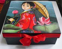 Pintura acrílica sobre madeira Hand painted box