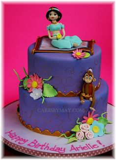 Fun and whimsical Jasmine cake. All figures and flowers are made out of gumpaste Fancy Cakes, Cute Cakes, Jasmine Birthday Cake, Jasmine Party, Princess Jasmine Cake, Princess Cakes, Aladdin Cake, Aladdin Party, Aladdin Movie
