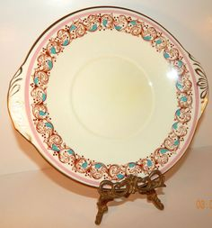 """Adderly Pink, Aqua Blue, and Gold 8.5"""" Serving Dish Bone China Made in England #Adderly"""