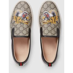Gucci Gg Supreme Tiger Slip-On Sneaker ($550) ❤ liked on Polyvore featuring men's fashion, men's shoes, men's sneakers, mens slipon shoes, mens woven leather slip-on shoes, mens slip on shoes, mens slip on sneakers and mens leather sneakers