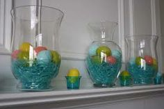 DIY Easter Decoration. Great way to use old flower vases