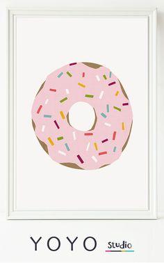 Donut Print. Printable Donut illustration printable download. nursery art.